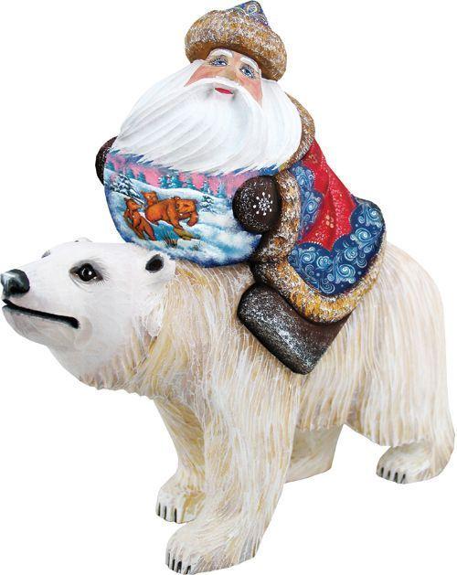 Global Journey Santa Woodcarved Figurine Santa Figurines Figurines Global Journey