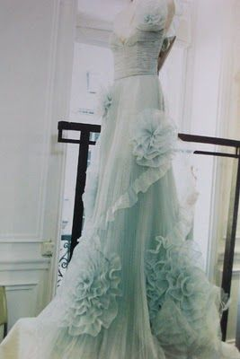 aqua wedding dress. I would 110% be willing to wear a colored dress. My mom might kill me.