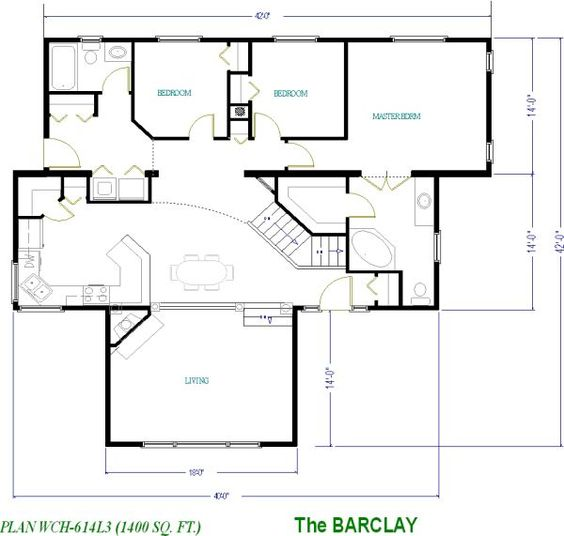1400 square foot basement model modular house floor for Modular homes with basement floor plans
