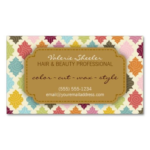 Colorful Quatrefoil Hair and Beauty Appointment Card Business Card. Make your own business card with this great design. All you need is to add your info to this template. Click the image to try it out!