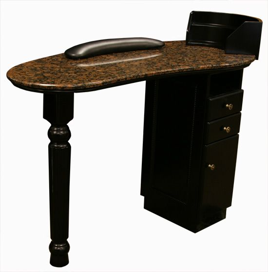 Manicures tables and all black on pinterest for Black nail desk