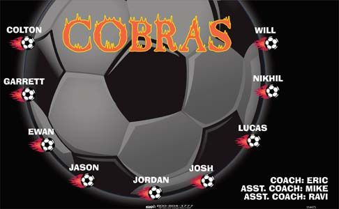 Cobras-154475  digitally printed vinyl soccer sports team banner. Made in the USA and shipped fast by BannersUSA. www.bannersusa.com