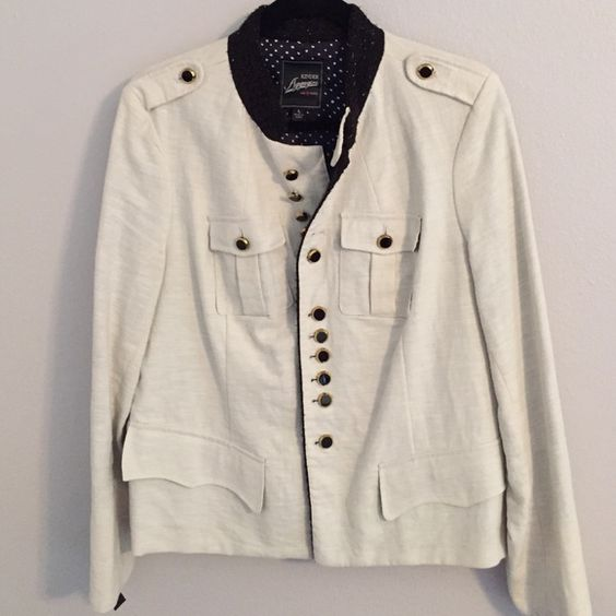 Linen Military Style Jacket This special edition for Macy's fitted jacket has the most amazing details:gold trimmed buttons, polka dot lined pocket flaps, glittery black neckline and lapels, ribbon laced cuffs., pleated breast pockets. The pics do not do it justice. Had to have it... Never wore it :-/ Kinder Aggugini Jackets & Coats