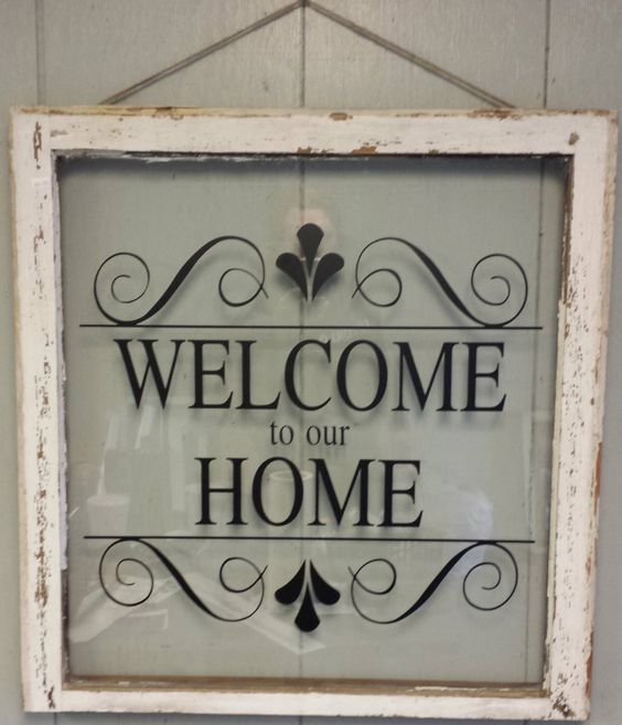 """Welcome To Our Home: Vintage Single Pane Window Personalized """"Welcome To Our"""