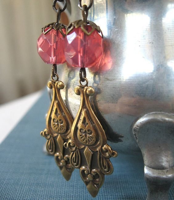 Persephone's Pomegranates  Pink glass brass by theothermagdalene, $15.00