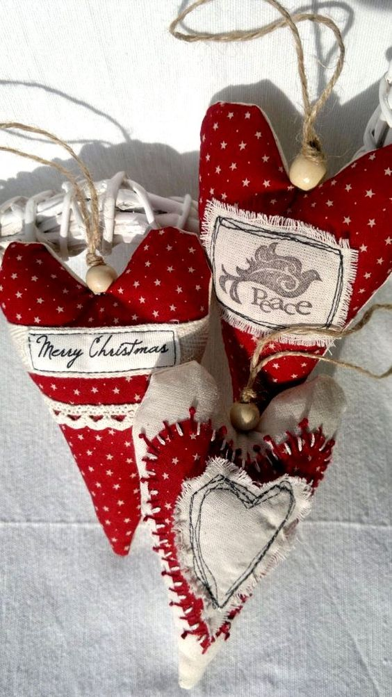 Christmas tree Fabric heart ornament decorations ToniKami Ðℯck Ʈհe HÅĿĿs #Christmas DIY crafts rustic etsy.com: