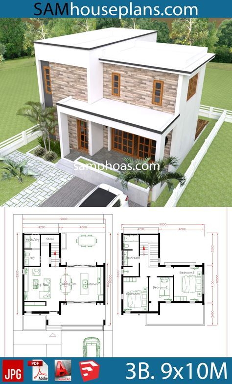 3 Bedrooms House Plans 9x10m Sam House Plans House Plans Bedroom House Plans House Layout Plans