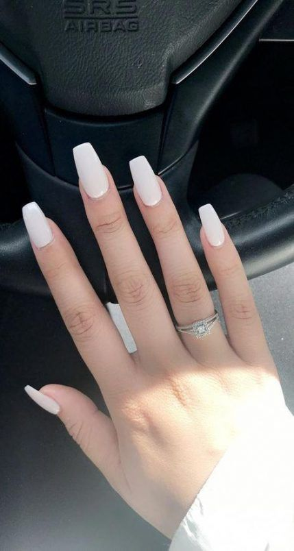 Nails Acrylic Coffin White Long 48 New Ideas Short Coffin Nails Designs Short Coffin Nails Long White Nails
