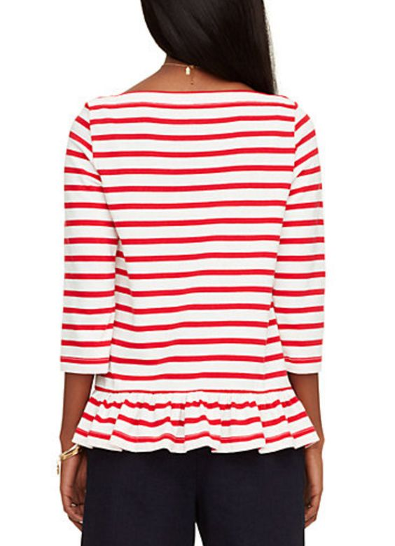 Demi-Peplum Red and White Stripe Sailor Top