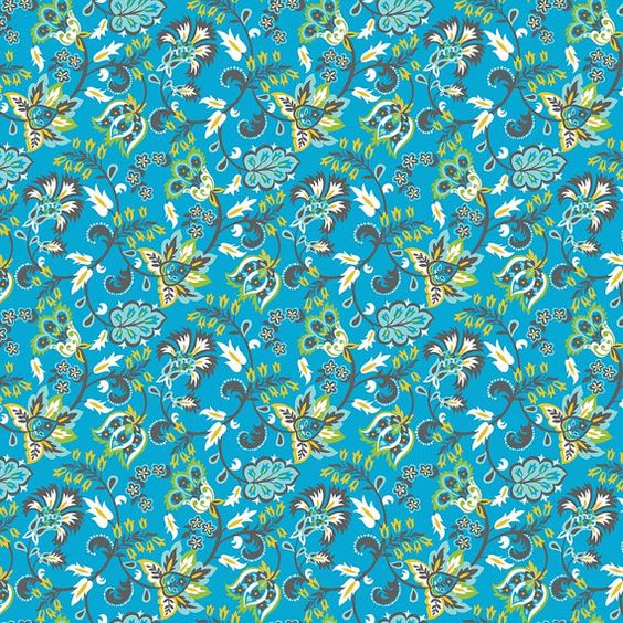 NEW Exotic Vines Blue Turkish Delight Fabric by ThePalmCottage
