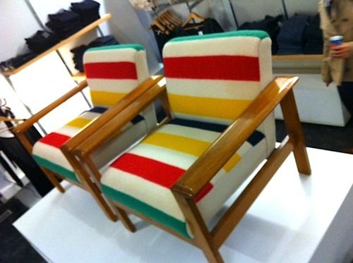 WESTNOFA NORWAY PLANK ARM EASY CHAIRS IN VINTAGE 1970'S HUDSON BAY BLANKETS *swoon*