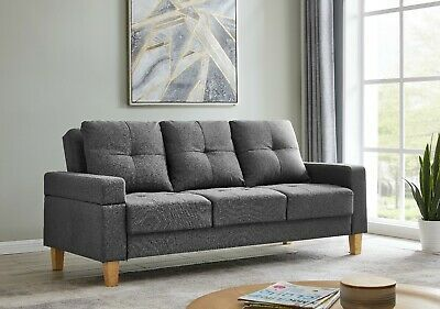 Luxury 3 Seater Sofa Bed Brown Grey Or Blue Fabric Wood Frame Removable Armrest Ebay In 2020 Sofa Bed Brown Sofa Fabric Sofa Bed