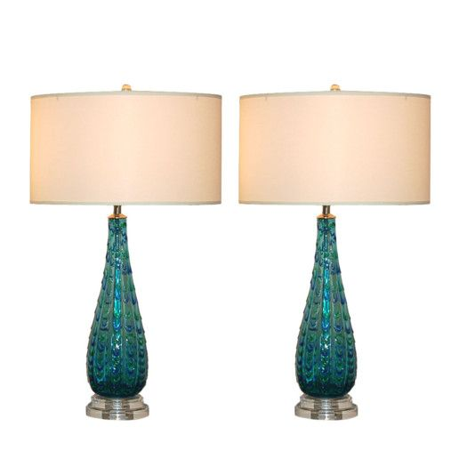 Vintage Murano Glass Table Lamps Blue Green Swank Lighting Lamp Glass Table Lamp Table Lamp