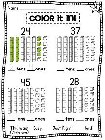 Printables First Grade Place Value Worksheets first grade math unit 9 place value pictures cubes and color in the number for love