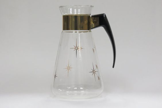 Atomic era mid century modern pryex gold stripe carafe pitcher corning ware heat proof glass - Heat proof pitcher ...