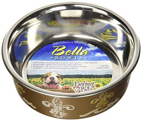 Loving Pets Fleur De Lis Bella Bowl For Dogs Small Antique Gold