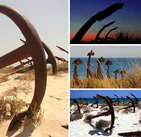 Anchor graveyard off the coast of Portugal.