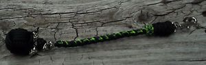 "Monkey Fist Paracord with Skull Beads Black and Green 11"" Long 