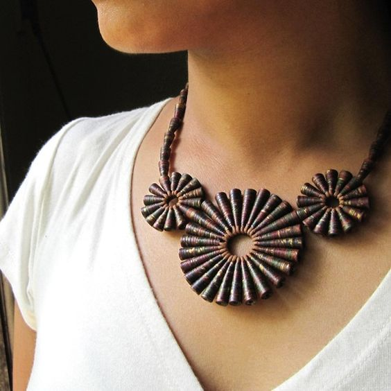 Paper jewelry  Craft Paper Bead Necklace  Rustic by HippieKingdom