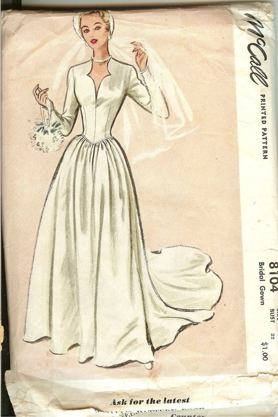 Vintage 1950\'s McCall\'s Wedding Gown Pattern | Boda, The princess ...