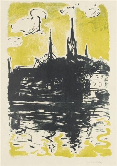Kirche und Schiff, Sonderburg, Emil Nolde