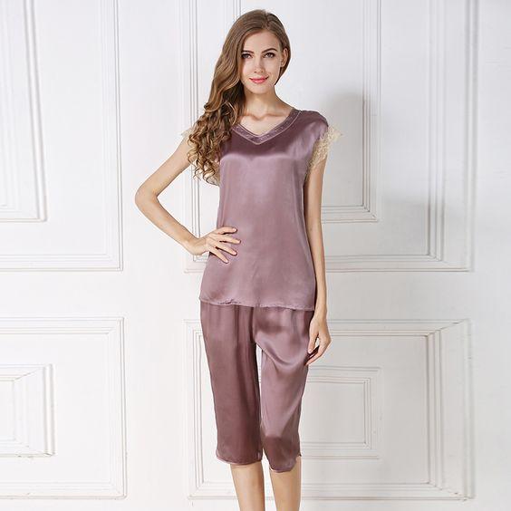 silk pajamas silk chemise slip long silk robes for women    https://www.snowbedding.com/
