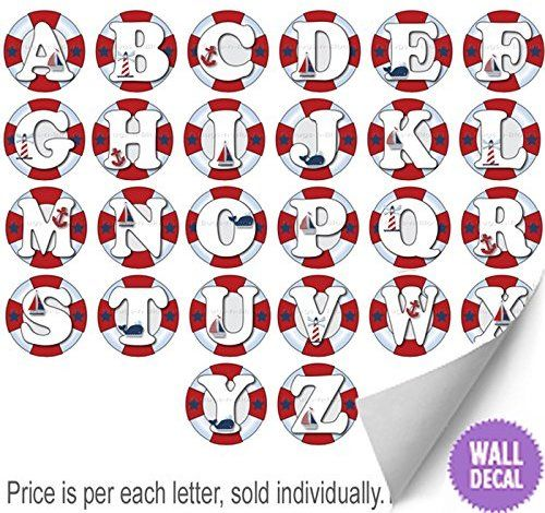Amazon Com Wall Letters L Nautical Ocean Sailing Red White Blue