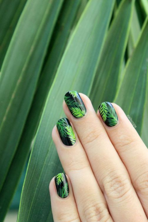 Palm Leaf Nails Summer Nails Nail Nail Art Summer Nails Nail Ideas Summer Nail Art Summer Nail Designs Palm Leaf N With Images Tropical Nail Art Tree Nails Palm Tree Nails