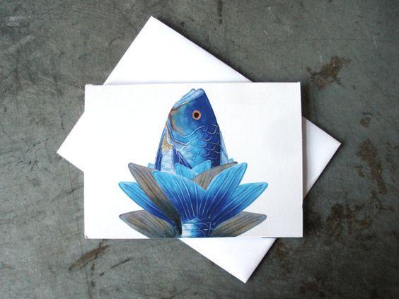 Fish Art Greeting Card  Ocean Lotus Flower Art by PatWarwickTiles, $3.50