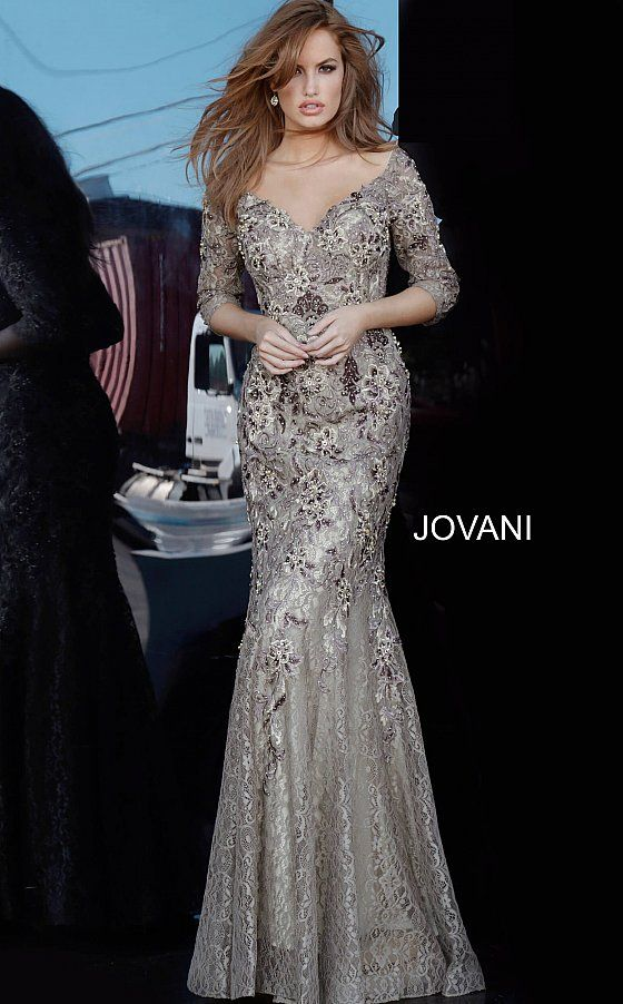 Jovani 02766 Floral Embroidered Mermaid Dress Evening Gowns With Sleeves Evening Dresses Dresses