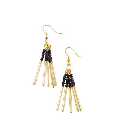 This Black & Goldtone Bidwell Earrings is perfect! #zulilyfinds