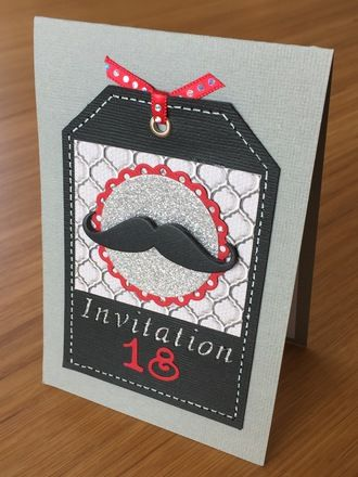 carte d 39 invitation anniversaire th me moustache gar on 18 ans pinterest moustache et. Black Bedroom Furniture Sets. Home Design Ideas