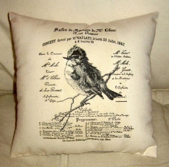 french bird on a branch pillow...etsy..frenchcountrydesigns