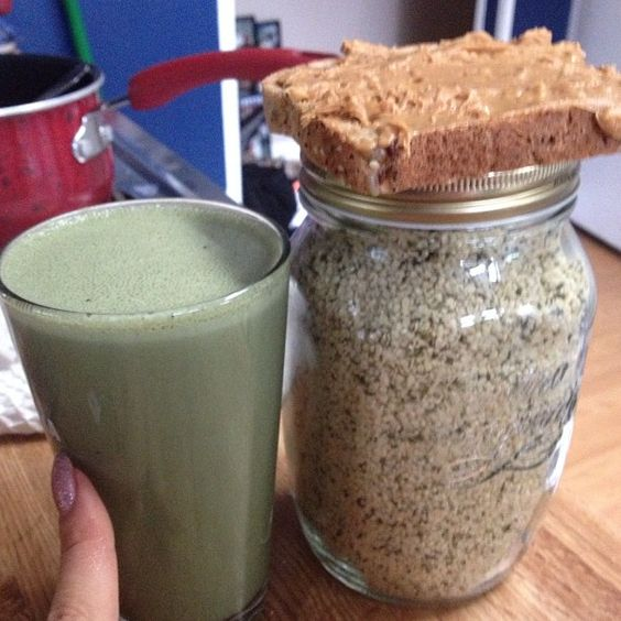 Green Hemp Seed Shake for Breakfast.
