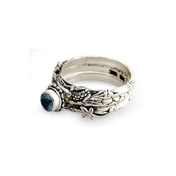NOVICA Blue Topaz and Sterling Silver Stacking Rings (220 BRL) ❤ liked on Polyvore featuring jewelry, rings, blue topaz, clothing & accessories, stacking, frog jewelry, charm rings, 18k ring, frog charms and trio rings