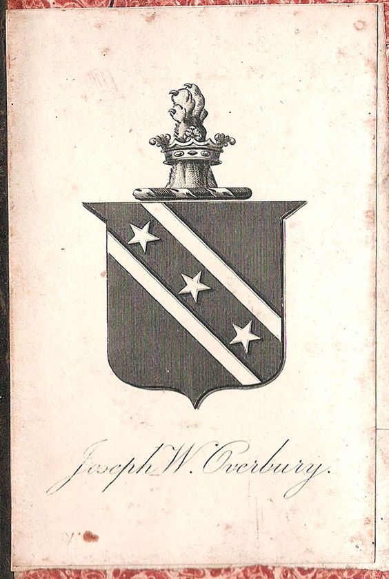 Armoral bookplate of Joseph Watson Overbury (ca 1839 - ca 1909), Stock Broker: