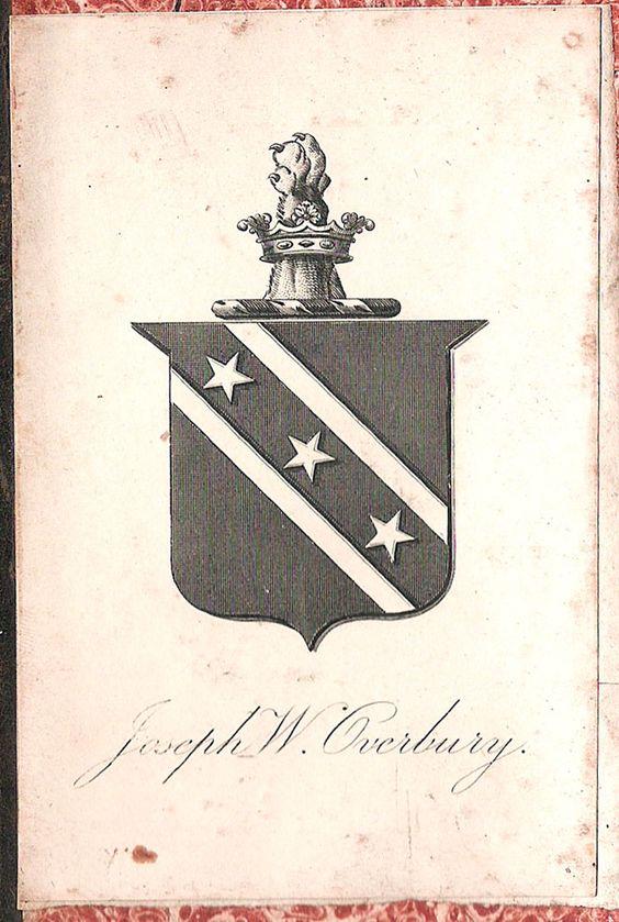 Armoral bookplate of Joseph Watson Overbury (ca 1839 - ca 1909), Stock Broker: