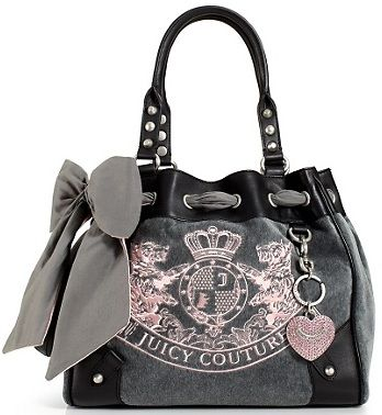 New juicy couture daydreamer heather grey pink scottie bag purse