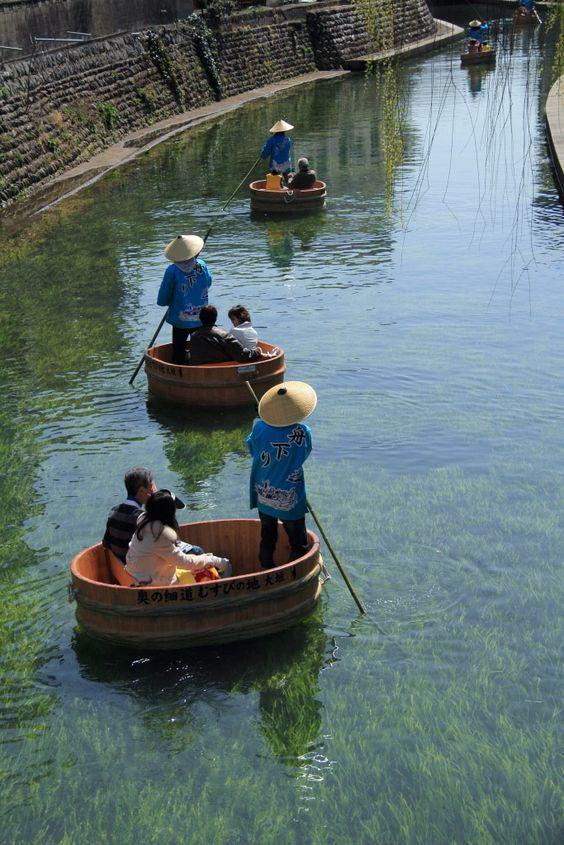 """Tarai Boat ( Tub Boat ) River Cruise  in Ogaki , Gifu , Japan. Reminds me of """"Spirited Away""""."""