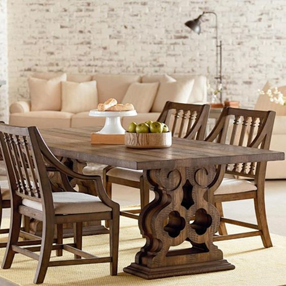 Magnolia home traditional double pedestal table in shop for Magnolia dining table