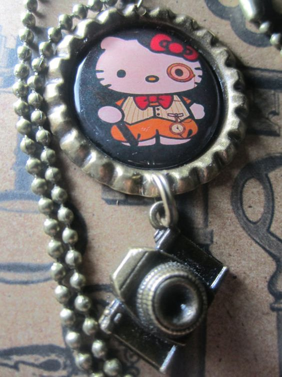 Steampunk Hello Kitty Antique Bronze by TinkerbevsTrinkets on Etsy, $10.99