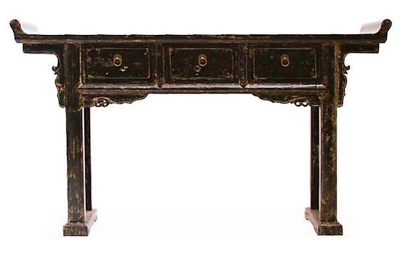 Brigitte Console Table, Distressed Black on OneKingsLane.com