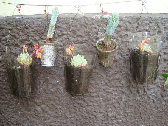 En vasos de plástico reutilizados recogidos en la calles después de una fiesta