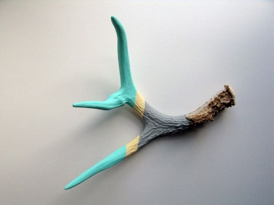 MayDae Etsy Picks Aqua Cream Gray Striped Painted Antler Made By Cassandra Smith