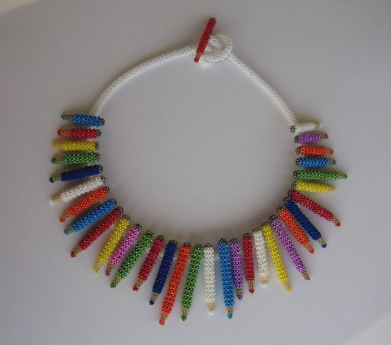 Necklace | Susanne Sturm. 'Colour My Neck'   Completely made out of seedbeads.