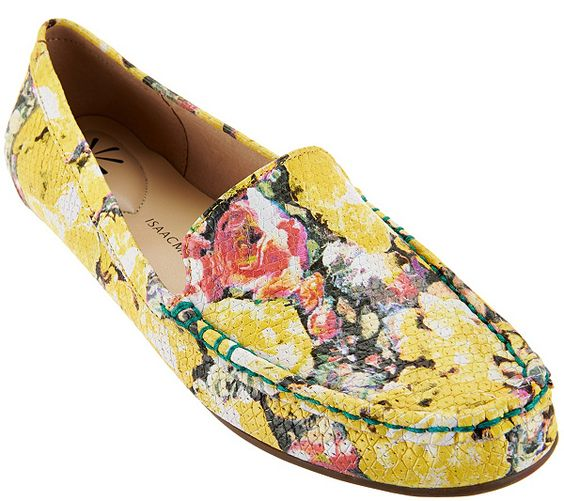 Spring in your step. A lively floral print gives these Isaac Mizrahi moccasins a fun punch of color that is sure to get you noticed. Page 1 QVC.com: