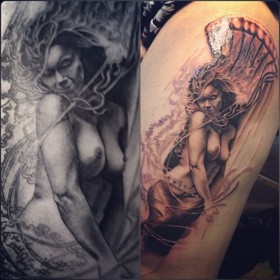 Mermaid and jelly fish in progress by me @lenitattoo Rock Steady Tattoo UK