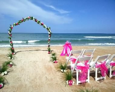 Simplicity Wedding Arch, Pink Rose Garland, White Wedding Chairs, Pink Fuchsia Organza Chair Sash, Bow Sashes, Pink White Rose Flower Aisle, Ceremonies by the Sea, Beach Wedding, Sand Ceremony Table, Fuchsia Organza Satin Overlay