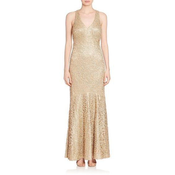 David Meister Sleeveless Embellished Gown ($625) ❤ liked on Polyvore featuring dresses, gowns, apparel & accessories, gold, sleeveless v neck dress, embellished dress, sleeveless gown, beige evening dresses and embellished gown