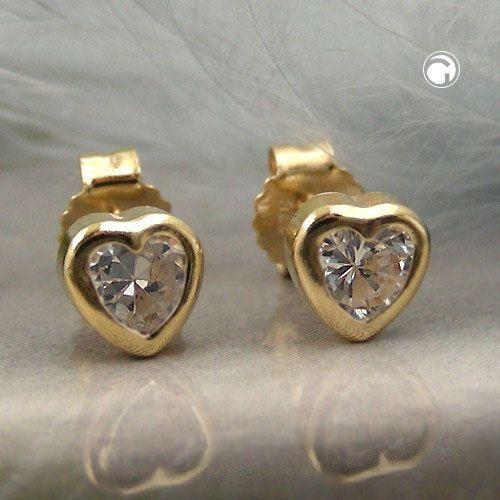 Stecker, Zirkonia Herz, 9Kt GOLD -  - 4051288067694
